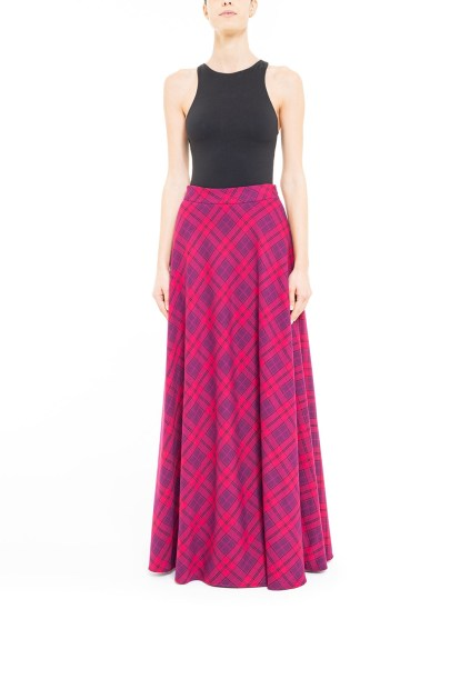 Fuchsia flared plaid skirt