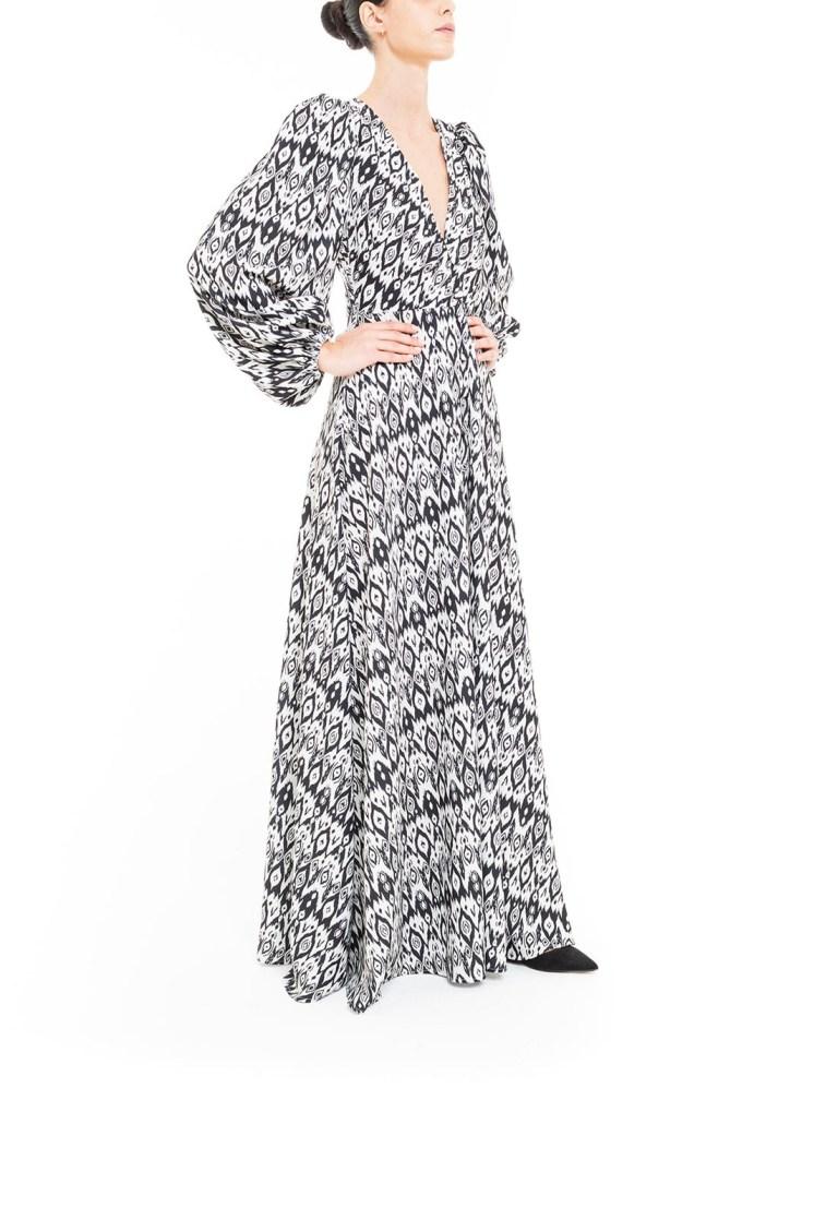 Vestito lungo ikat Bianco e Nero