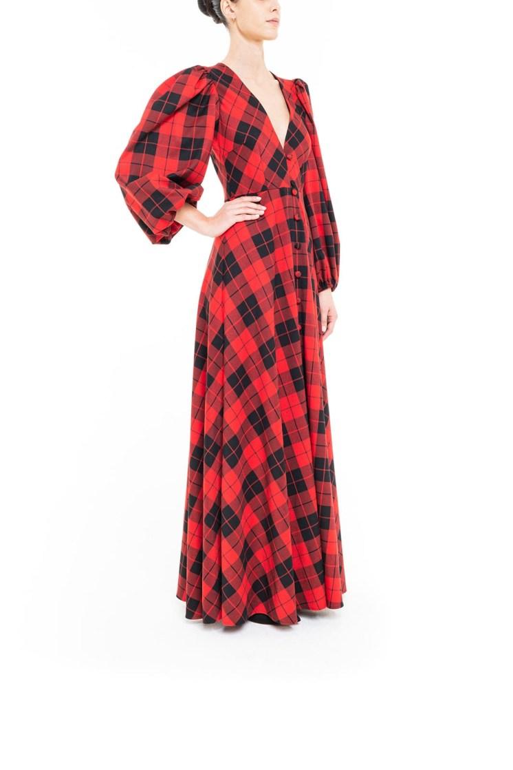Vestito lungo tartan Rosso e Nero