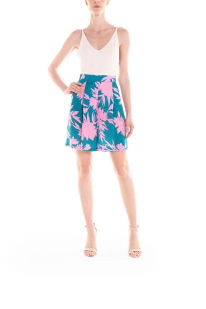 Bermuda a fiori verde e rosa Poupine