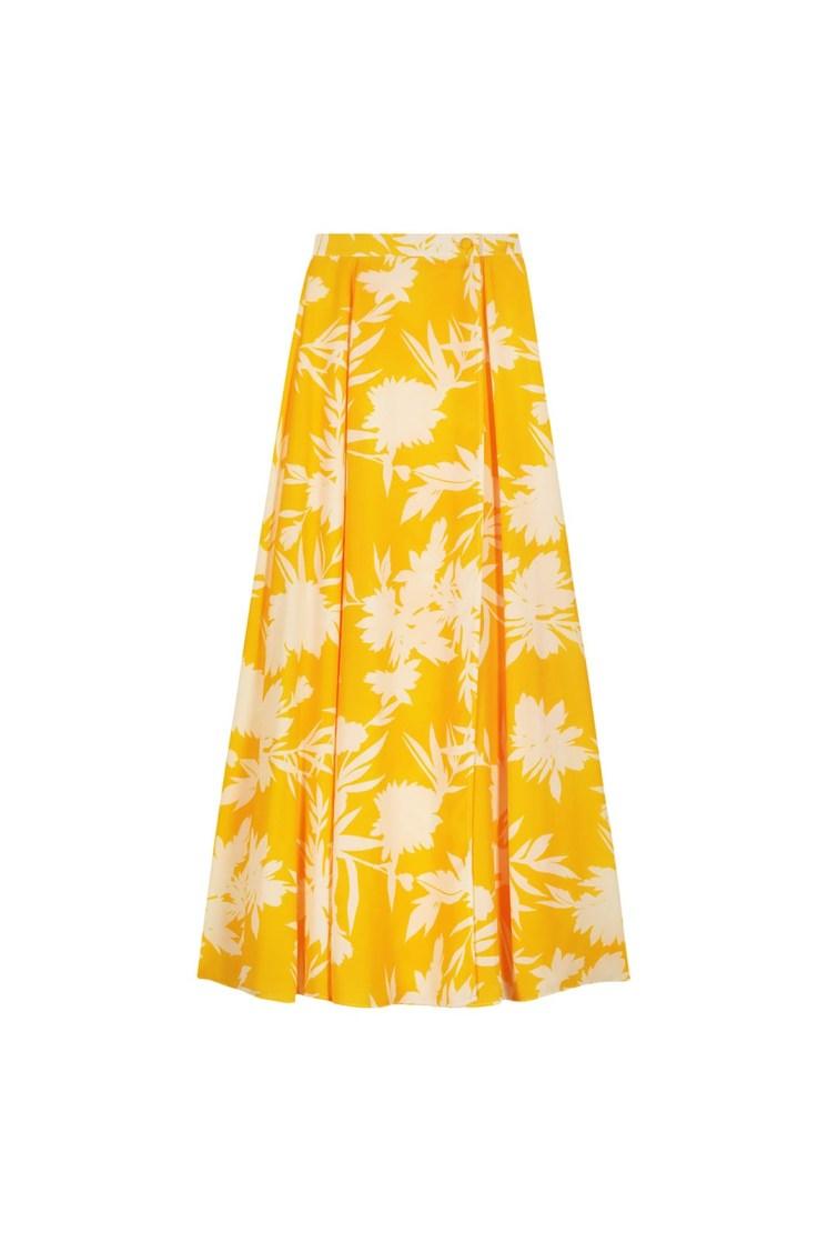 Gonna portafoglio a fiori giallo e panna Poupine