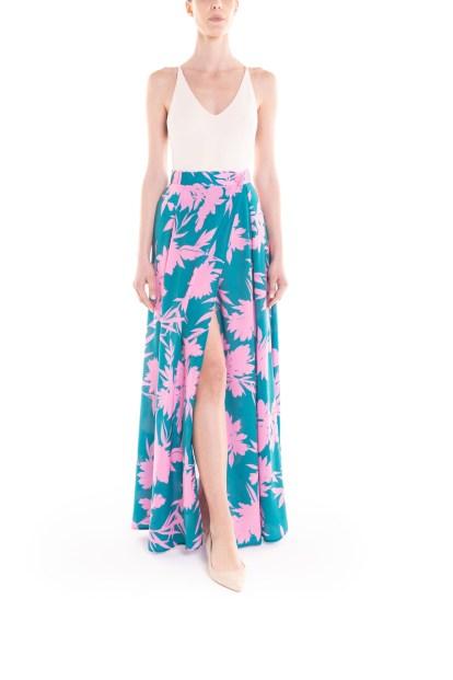 Gonna portafoglio a fiori verde e rosa Poupine