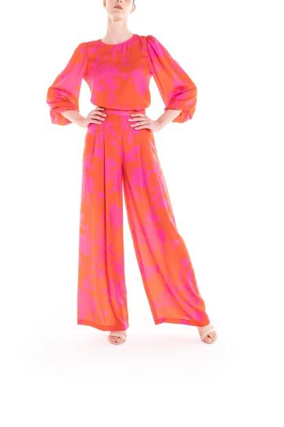 Pantalone a fiori arancio e fucsia Poupine