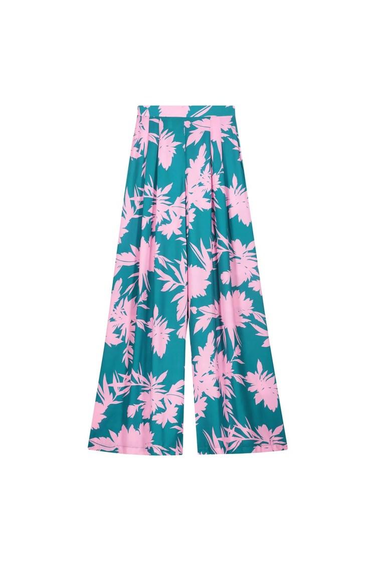 Pantalone a fiori verde e rosa Poupine