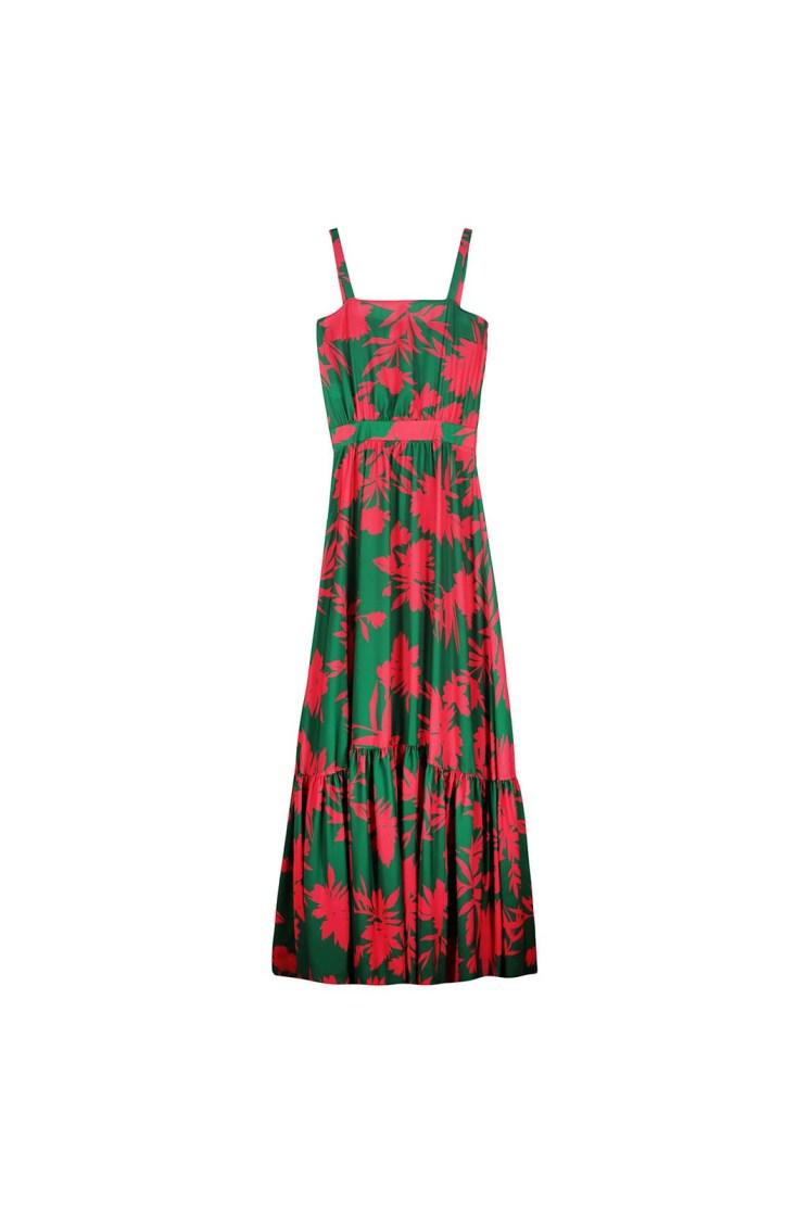 Vestito ampio a fiori con balza verde e fucsia Poupine