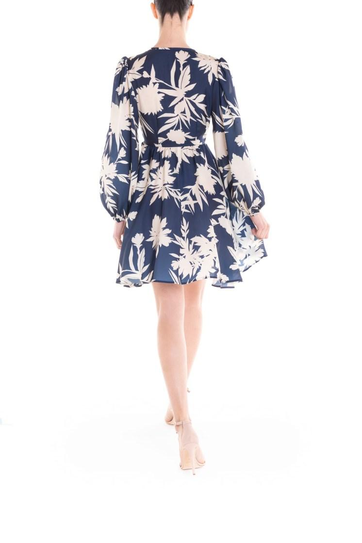 Vestito portafoglio corto a fiori blu e panna Poupine