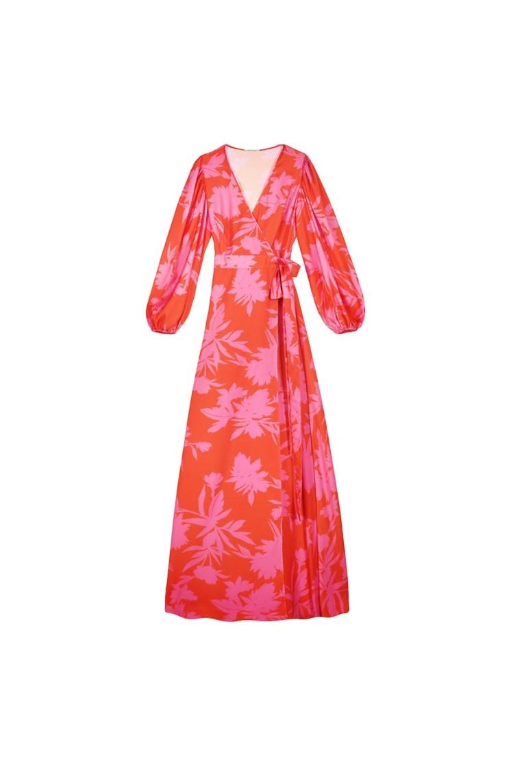 Vestito portafoglio lungo a fiori arancio e fucsia Poupine