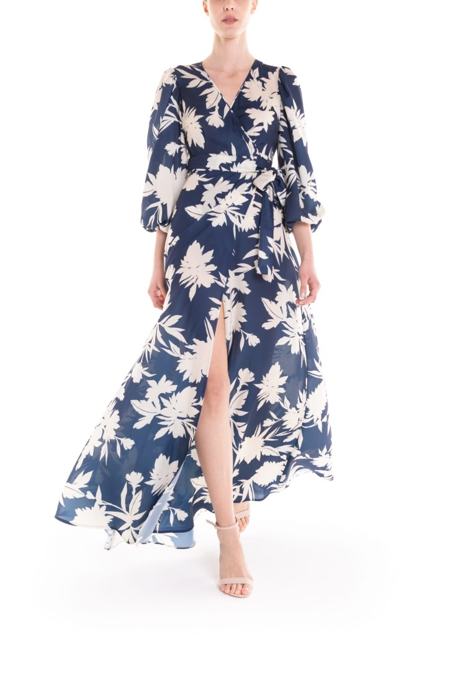 Vestito portafoglio lungo a fiori blu e panna Poupine