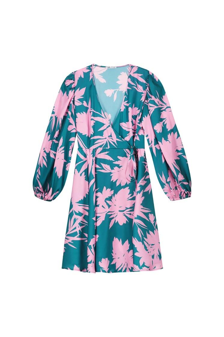 poupine vestito portafoglio verde e rosa corto