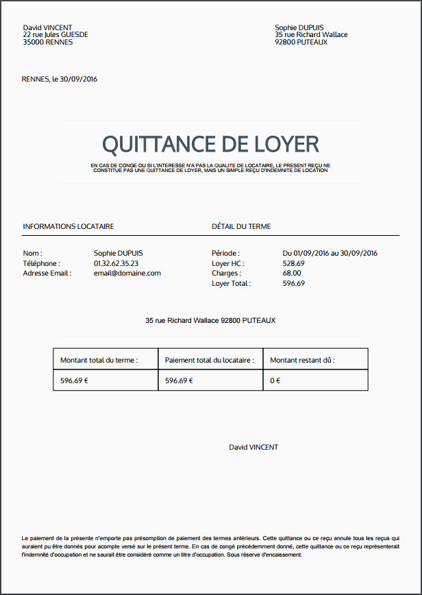 format lettre type quittance de loyer template