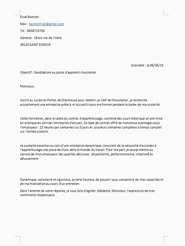 Lettre De Motivation Employé De Commerce Apprentissage