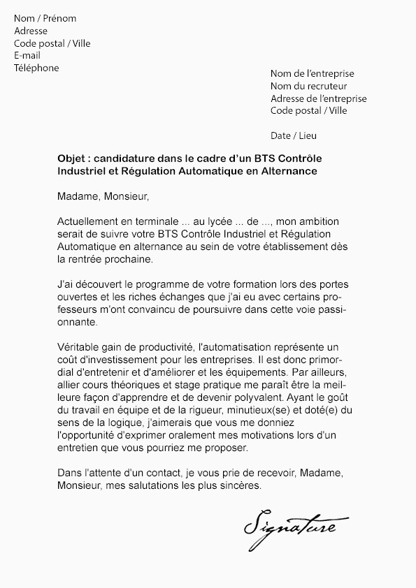 Lettre De Motivation Bts Alternance Ecole Lettre Motivation