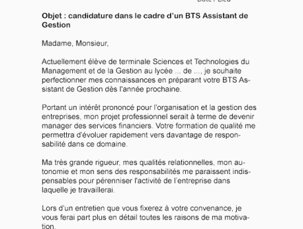 Lettre De Motivation Bts assistant De Gestion Aepp