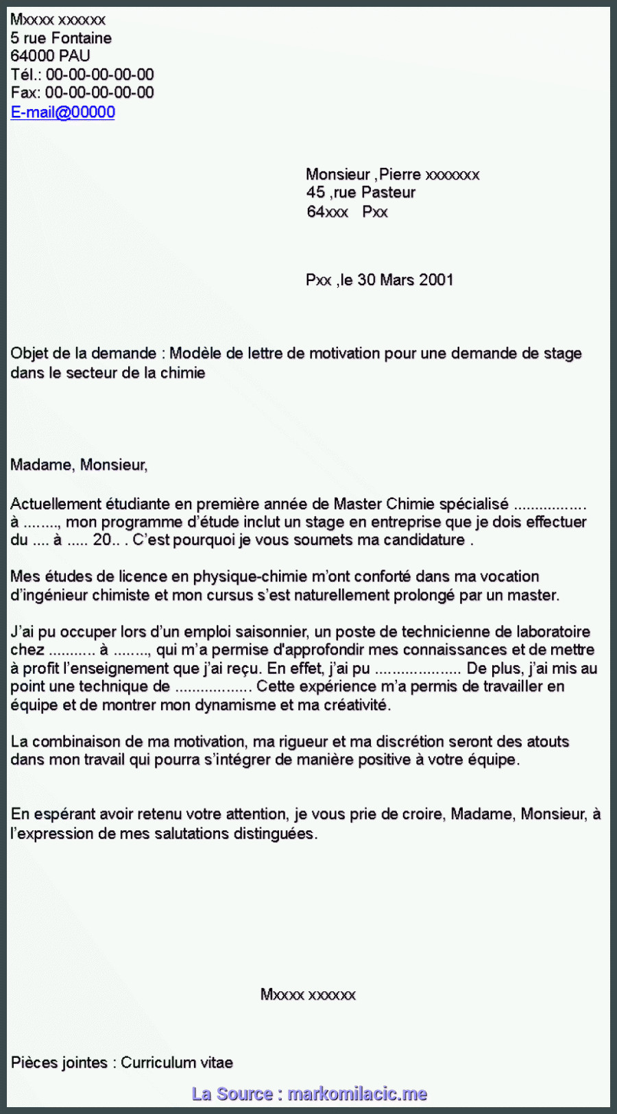 Bien Lettre De Motivation Licence Plastique Lettre De Motivation