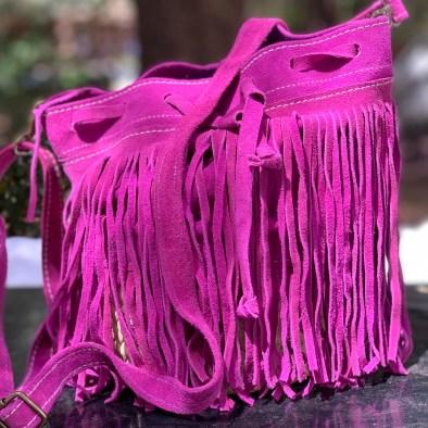 sac rond rose franges