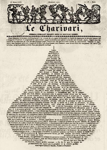Page couverture du Charivari du 27 février 1834 annonçant le verdict (en forme de poire) d'un procès contre lui.