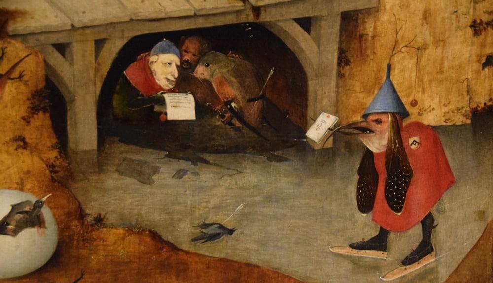 Détail du Triptyque de la Tentation de saint Antoine peint par Jérôme Bosch en 1501, actuellement au Museu Nacional de Arte Antiga, Lisbonne