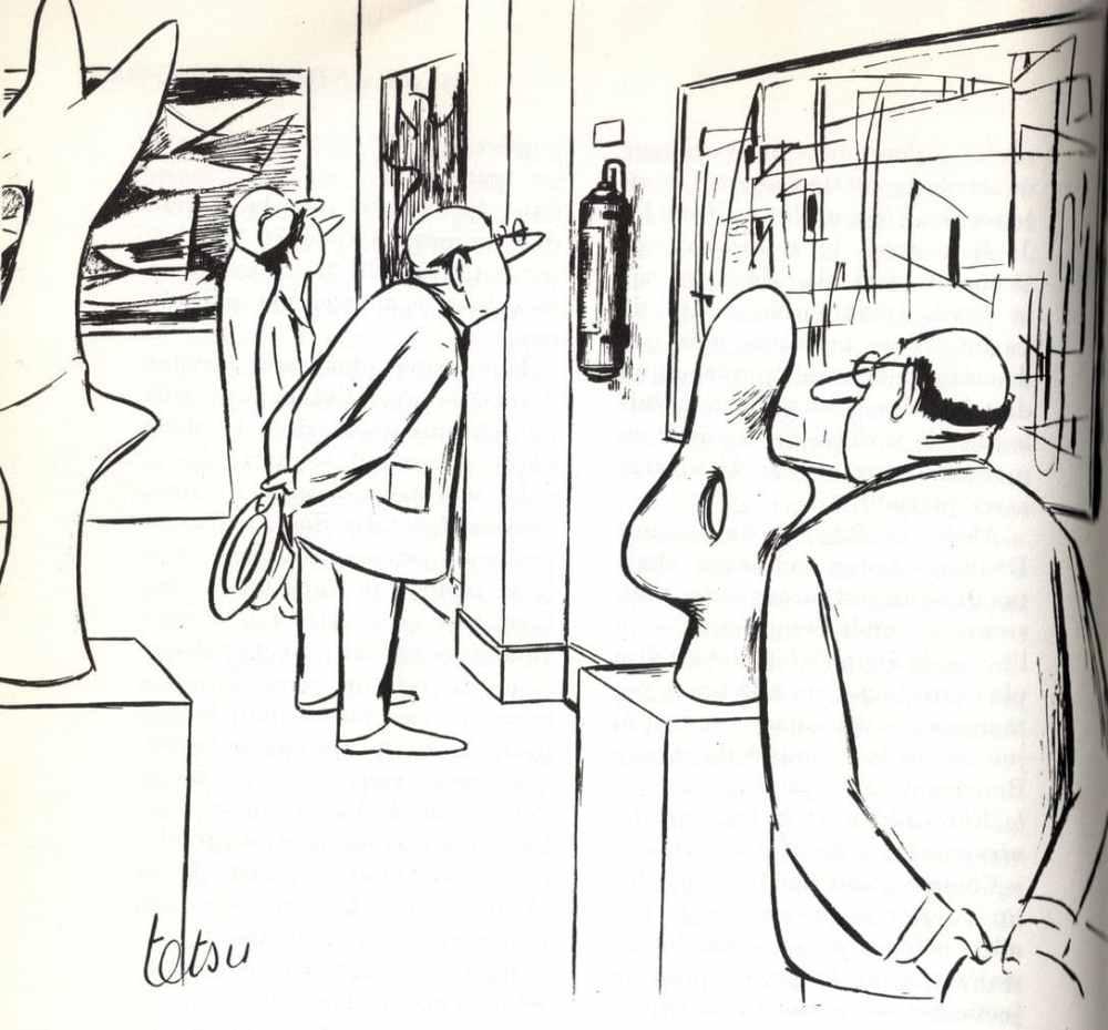 Les difficultés de l'art contemporain… Dessin de Tetsu - extrait de Un siècle d'humour français, dir. J.STERNBERG, avec P.LABRACHERIE, ROMI et H.MULLER, Les productions de Paris, 1963, droits réservés