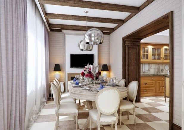 General-Cream-Brown-Dining-Room-Silver-Pendant-Lights-Svetlana-Nezus's-Home-Design-Concepts Creative 10 Ideas for Residential Lighting
