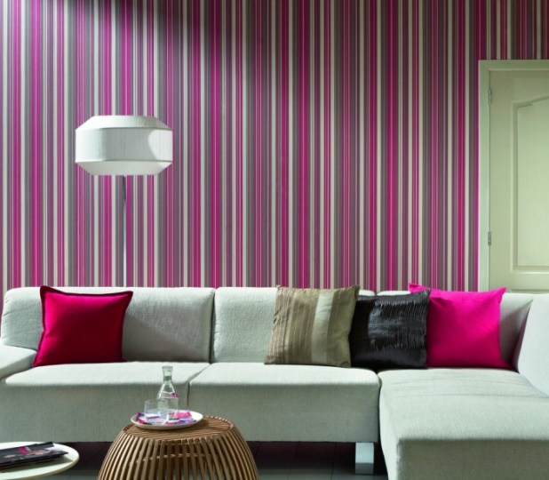 Neat-Elegant-Strip-Wallpaper-Living-Room-Design Tips On Choosing Wall Papers For Your Living Room