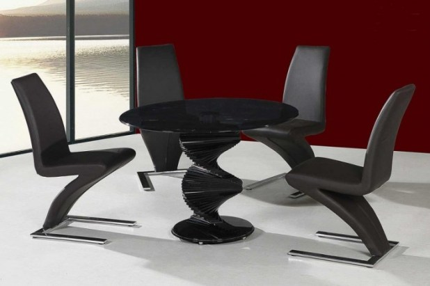 Unique-Swirl-Dining-Table-Leaf-Contemporary-Black-Dining-Table-Set-915x610 45 Most Stylish and Contemporary Dining rooms