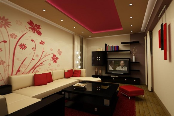 inspirational-living-room-design-red-wall-paper Tips On Choosing Wall Papers For Your Living Room