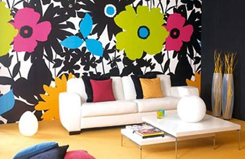 mural-flowers-wallpaper-for-living-room Tips On Choosing Wall Papers For Your Living Room