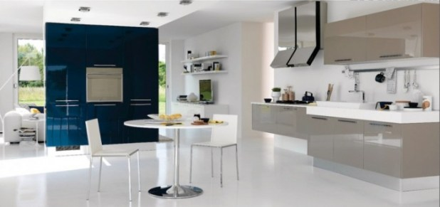 Amazing-modern-blue-white-gray-kitchen-with-blue-border-wall-and-modern-gray-kitchen-cabinet-972x4584 45 Elegant Cabinets For Remodeling Your Kitchen