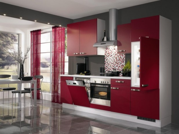 modern-red-kitchen-idea 45 Elegant Cabinets For Remodeling Your Kitchen