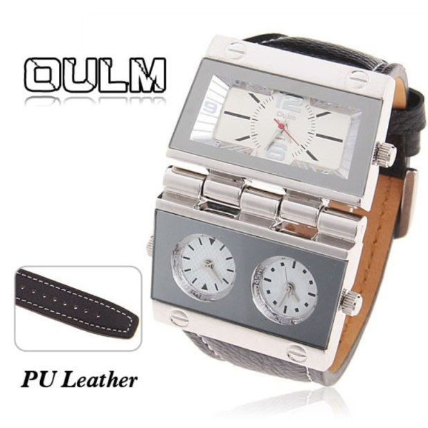 Oulm-Men-s-Quartz-Military-Wrist-Watch-3-Movt-Rectangle-Shaped-White-Dial-Black-Leather-Band Best 35 Military Watches for Men
