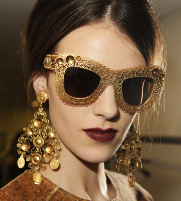 dolce-and-gabbana-fw-2014-mosaic-women-collection-the-sunglasses-and-earrings 2014 Latest Hot Trends in Women's Sunglasses