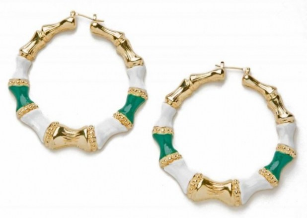 CC-Skye-Enamel-Bamboo-Hoops-in-Green Hottest Christmas Jewelry Trends 2015