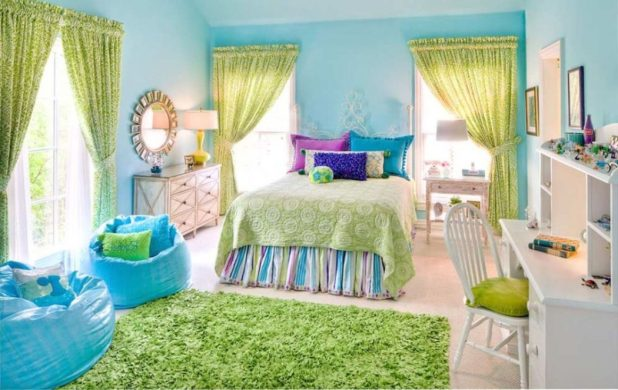 Green-big-best-paint-for-kids-room-windows-carpet-fabric-bed-bedcover-pillows-rainbow-colorfull-chair-plastic-wooden-chair-desk-stained-modern-contemporary-u 5 Stylish Bedroom Designs For Your Comfort