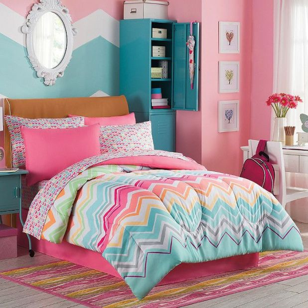 comforter-shams-sheets-chevron-multi-color-rainbow 5 Stylish Bedroom Designs For Your Comfort