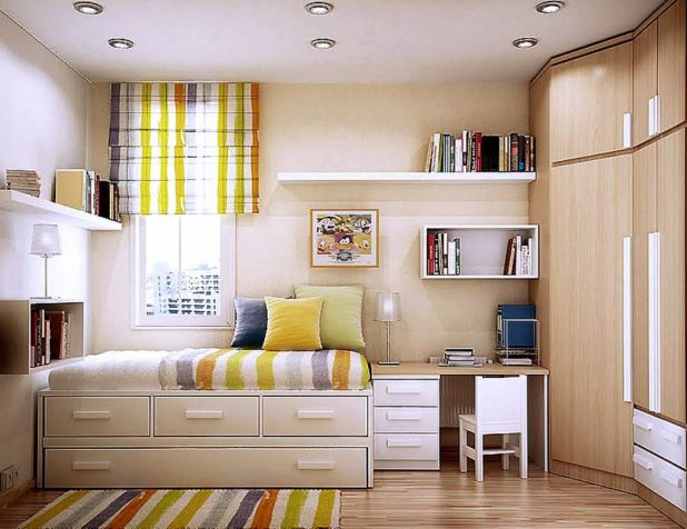 alluring-small-master-bedroom-design-with-white-wooden-storage-beds-fitted-sliding-drawer-under-the-beds-and-white-wooden-floating-bookshelf-attached-to-the-wall-also-bright-brown-wooden-cupboard-moun 5 Stylish Bedroom Designs For Your Comfort