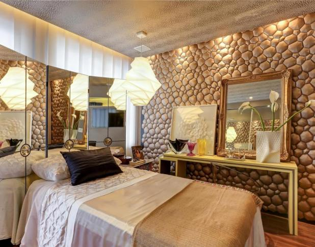 artistic-bright-small-bedroom-design-with-stone-wall-decor-and-mirror-frame-on-vanity-table-along-with-atrractive-pendant-lamp-inceiling-also-mirror-decoration-wall-beside-headboard 5 Stylish Bedroom Designs For Your Comfort
