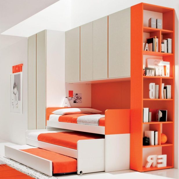 20-best-orange-bedroom-design-2016-aida-homes-cool-kids-with-bright-color-book-shelves_book-shelves-in-the-bed_dining-room_dining-room-table-pads-black-light-fixture-rustic-sets-in-spanish-white-7-pie 5 Stylish Bedroom Designs For Your Comfort