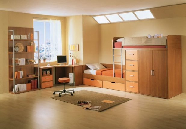 incredible-corner-brown-wooden-bedroom-corner-desk_corner-desk-with-drawer_plus-cpu-space_creamy-wooden-flooring_wooden-daybed-with-storage_light-orange-wall-paint_white-polyester-curtain-945x656 5 Stylish Bedroom Designs For Your Comfort
