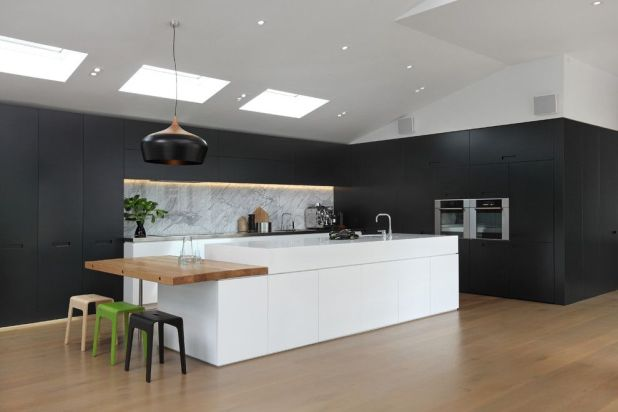 white-ceiling-and-dark-walls-contemporary-kitchen-with-a-wood-flooring-675x450 6 Designs of Suspended Ceiling Decors for 2017