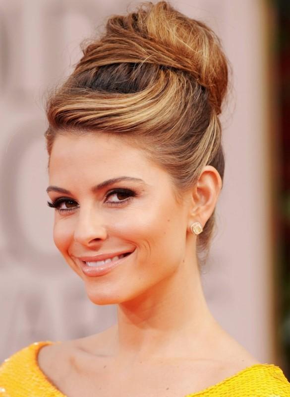 Maria Menounos - Messy and Sleek High Bun Hairstyle