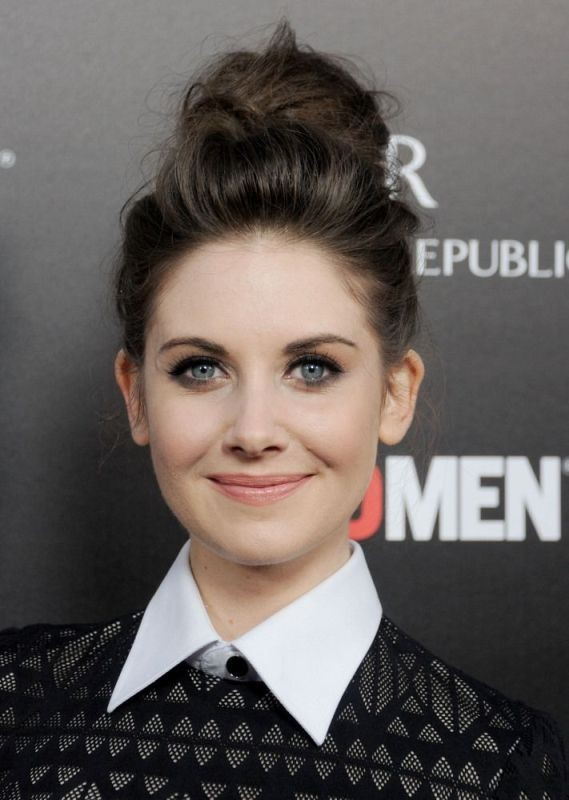 Alison Brie - Messy and Sleek High Bun Hairstyle