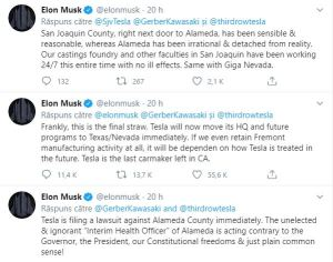 Elon Musk threatened to sue over Alameda County Health Department!