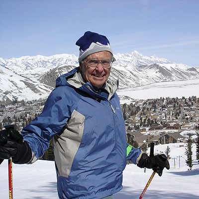 Bill Briggs on his home mountain, Snow King, overlooking the town of Jackson and the Tetons. Photo: Sava Malachowski