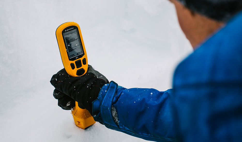 Measure snowpack structure, slope angle, and aspect with a probe. PHOTO: Avatech