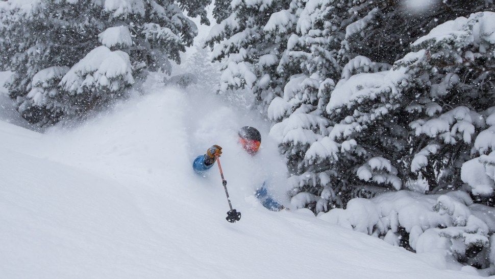 First tracks in Gad Valley after over 30″ in 24hrs
