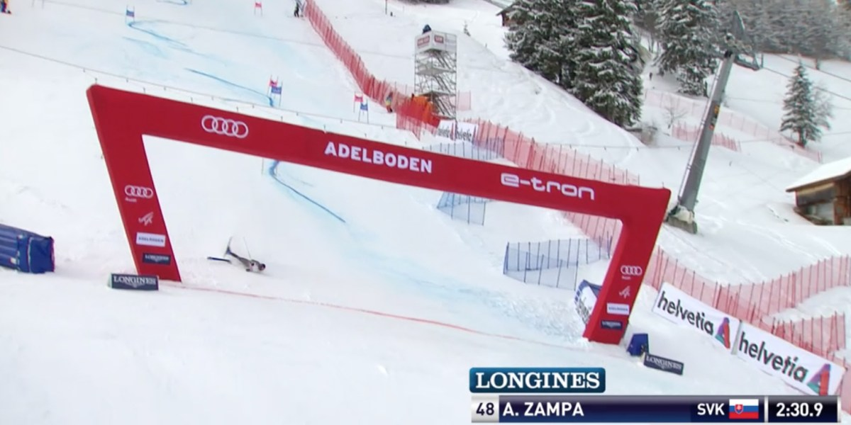 World Cup Skier Crashes Through Finish Line and Into First