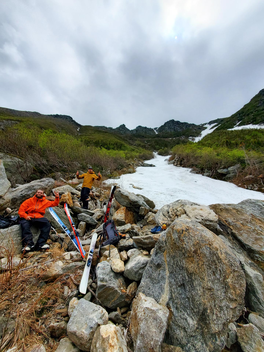 Tuckerman Ravine skier June