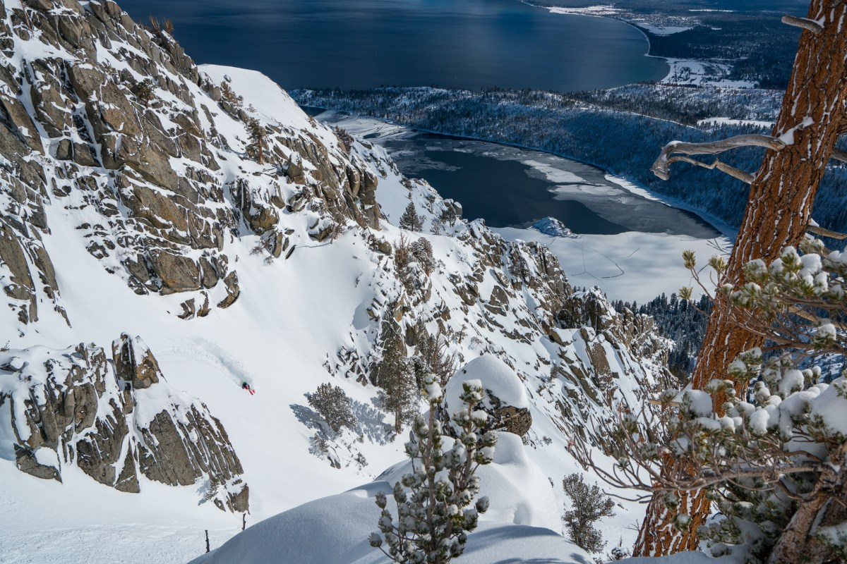 Michelle Parker skiing Emerald Bay