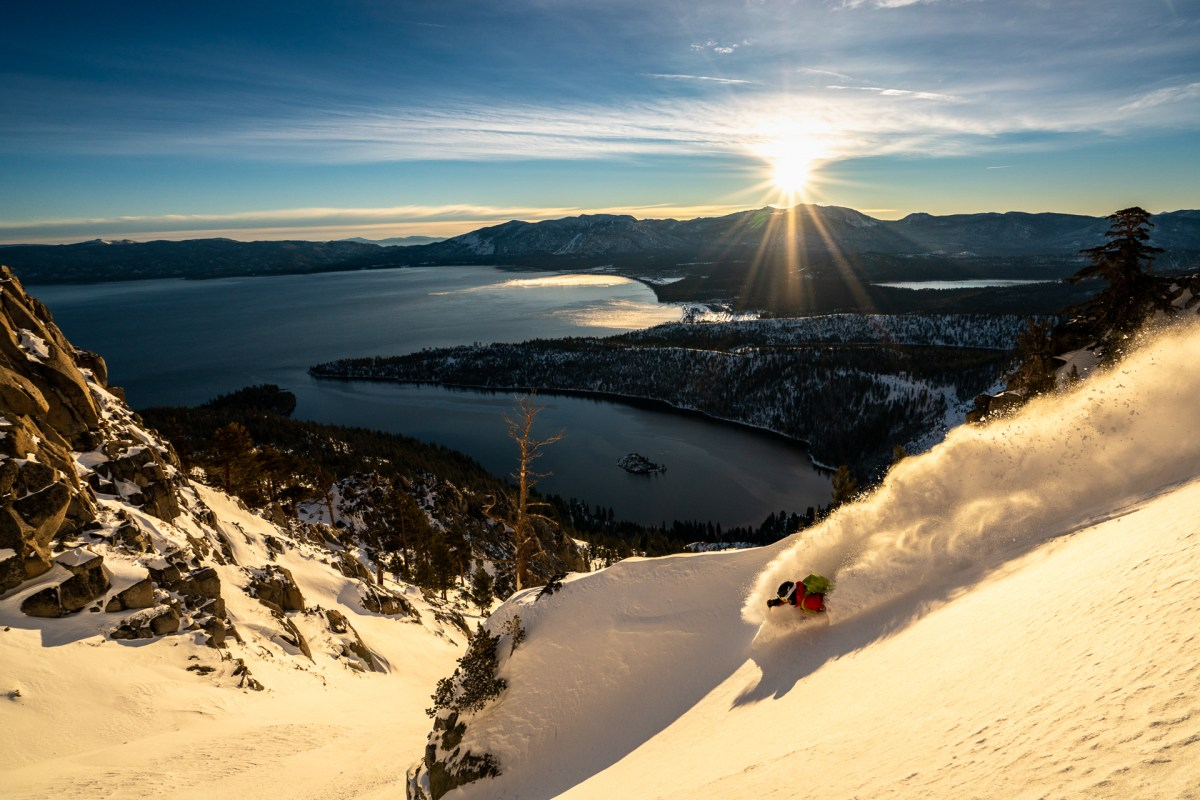 Connery Lundin skiing Emerald Bay at sunrise
