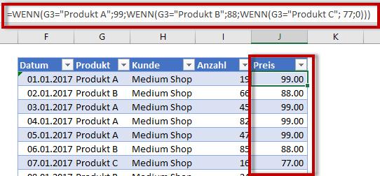 berechnete Spalte Excel
